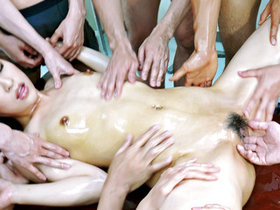 Six guys lie Ayaka Mizuhara down for a wild sexy orgy with heated oil